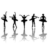 Five ballet dancers silhouettes — Stock Vector