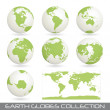 Collection of earth glob, white-green — Stock Vector #3374193