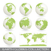 Collection of earth glob, white-green — Stock Vector