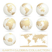 Earth globes colection, white - cream — Stock Vector