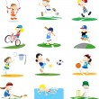 Collection of Sporty Cartoon Characters - Vettoriali Stock