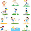 图库矢量图片: Collection of Sporty Cartoon Characters