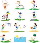 Sammlung von sportlichen cartoon-figuren — Stockvektor