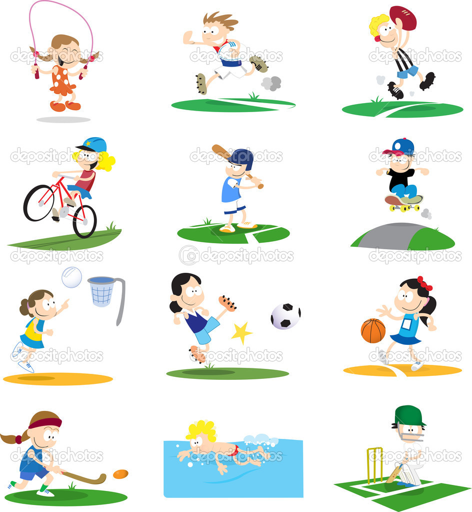 Cartoon-style vector illustrations of kids playing a variety of sports. If purchasing the vector it would be easy to remove the backgrounds for each character. — Stock Vector #2908614