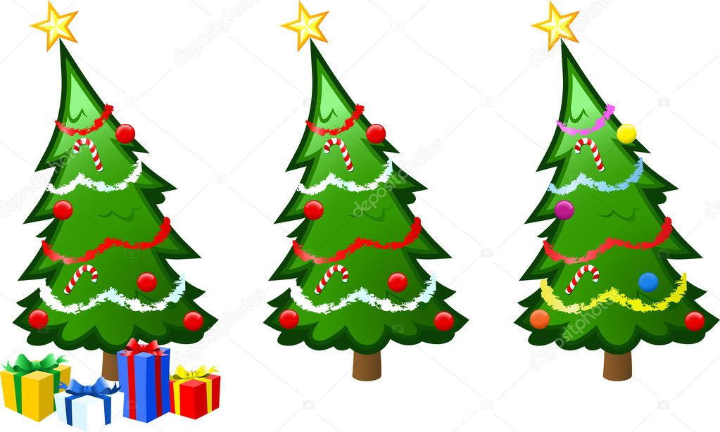Christmas tree with baubles, tinsel and presents repeated in different color combinations. — Stock Vector #2938209