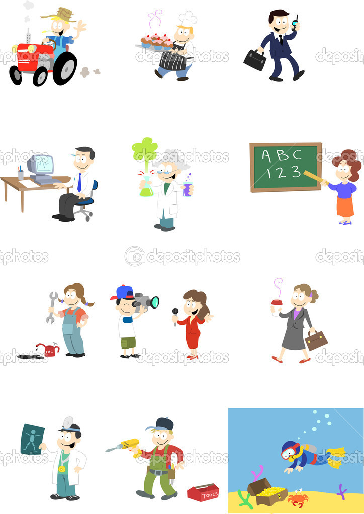 A collection of vector characters in various professions.  — Vettoriali Stock  #3000787