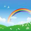 Spring scene with rainbow — Stock Vector