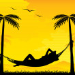 Stock Vector: Relaxing on hammock