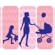 Stock Vector: Mothers and children silhouettes