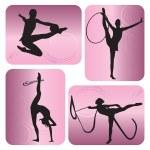 Rhythmic gymnastics silhouettes — Stock Vector #3430433