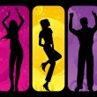 Stock Vector: Colorful disco dancers