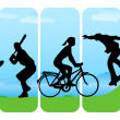 Leisure Sport silhouettes — Stock Vector