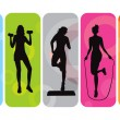 Vector de stock : Fitness silhouettes