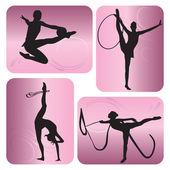 Rhythmic gymnastics silhouettes — Stock Vector