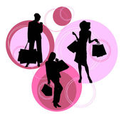 Shopping silhouettes — Stock Vector
