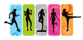 Fitness silhouettes — Vector de stock