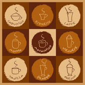 Coffee drinks — Stock Vector