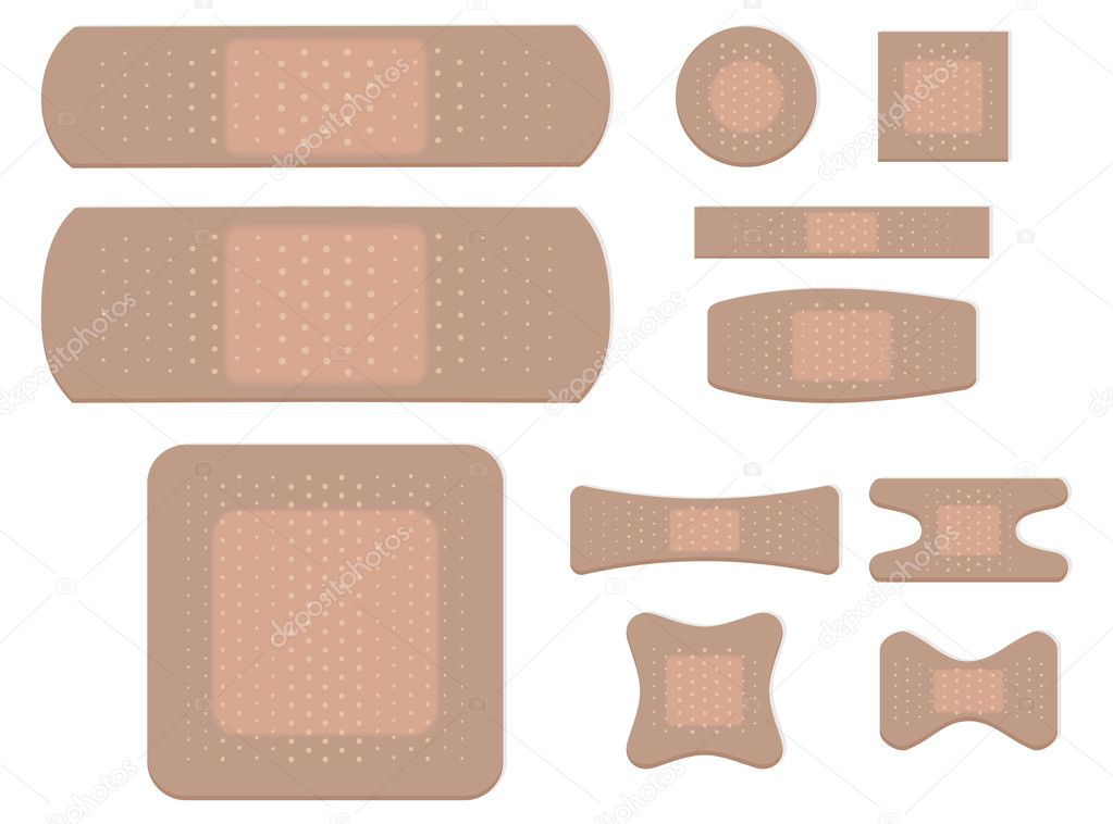 Adhesive bandage set isolated on white background — Stock Vector #3430355