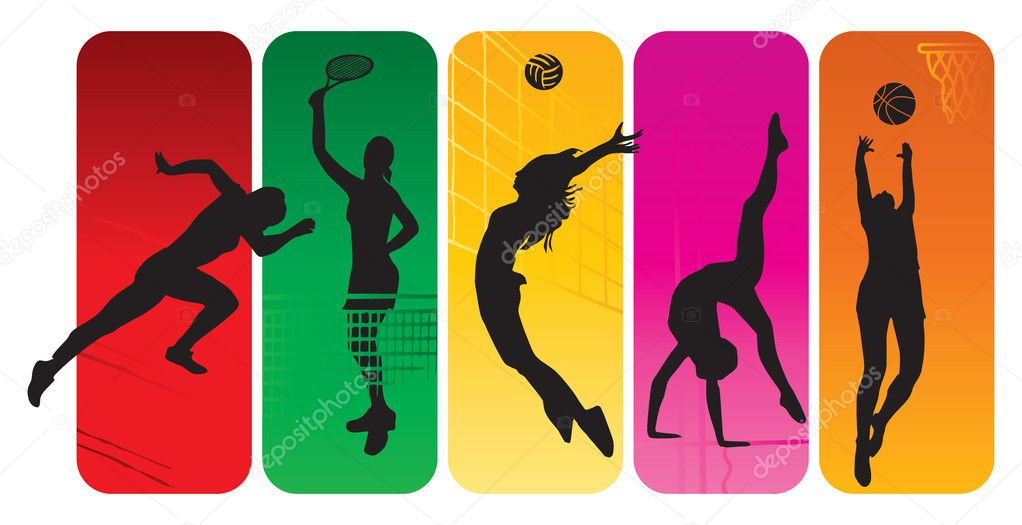 Sport silhouettes on an abstract background — Stock Vector #3430475