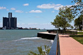 Detroit from Windsor city — Stock Photo