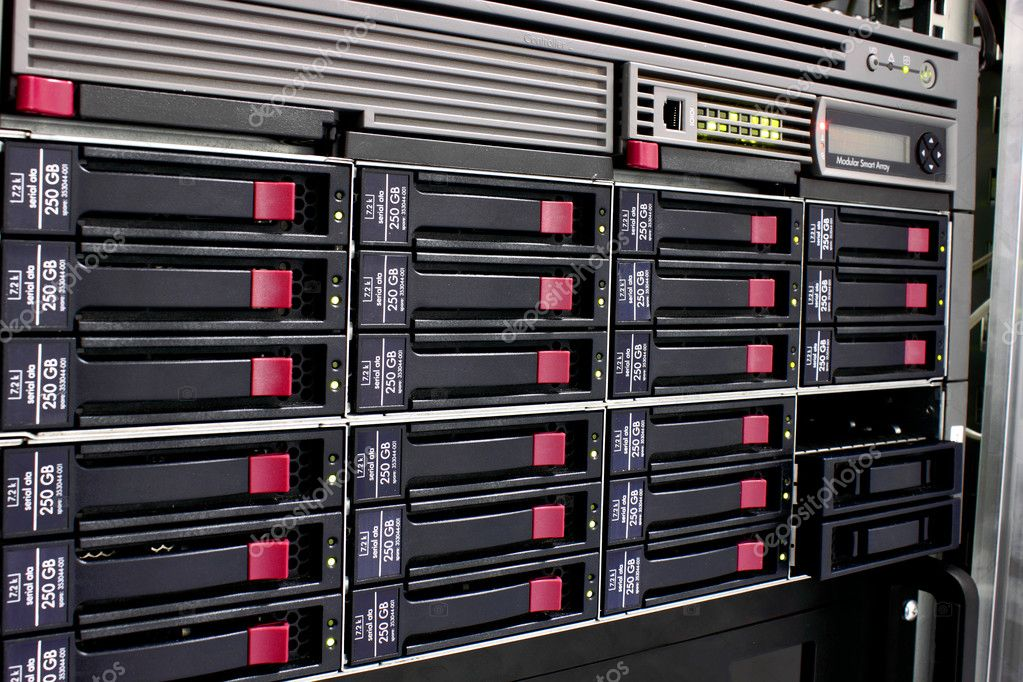 Servers stack with hard drives in a datacenter for backup and data storage — Stock Photo #3180202