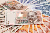 Croatian Kuna banknotes layed out — Stock Photo