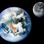 planeta Země a měsíc — Stock fotografie