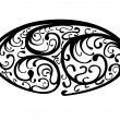 Oval Organic Swirling Vines Motif - Stock Photo
