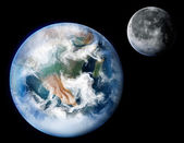 Planet Earth and The Moon — Stock Photo