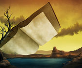 A Textbook Surrealist Landscape - digital painting — Stock Photo