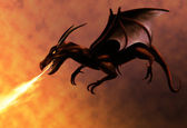Flying Fire Dragon — Stock Photo