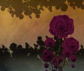 玫瑰花园数字绘画 — 图库照片