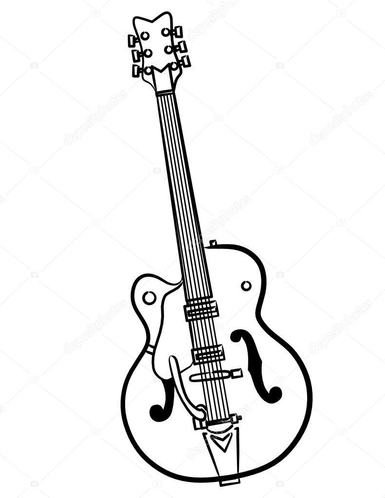 electric guitar line art illustration  u2014 stock photo