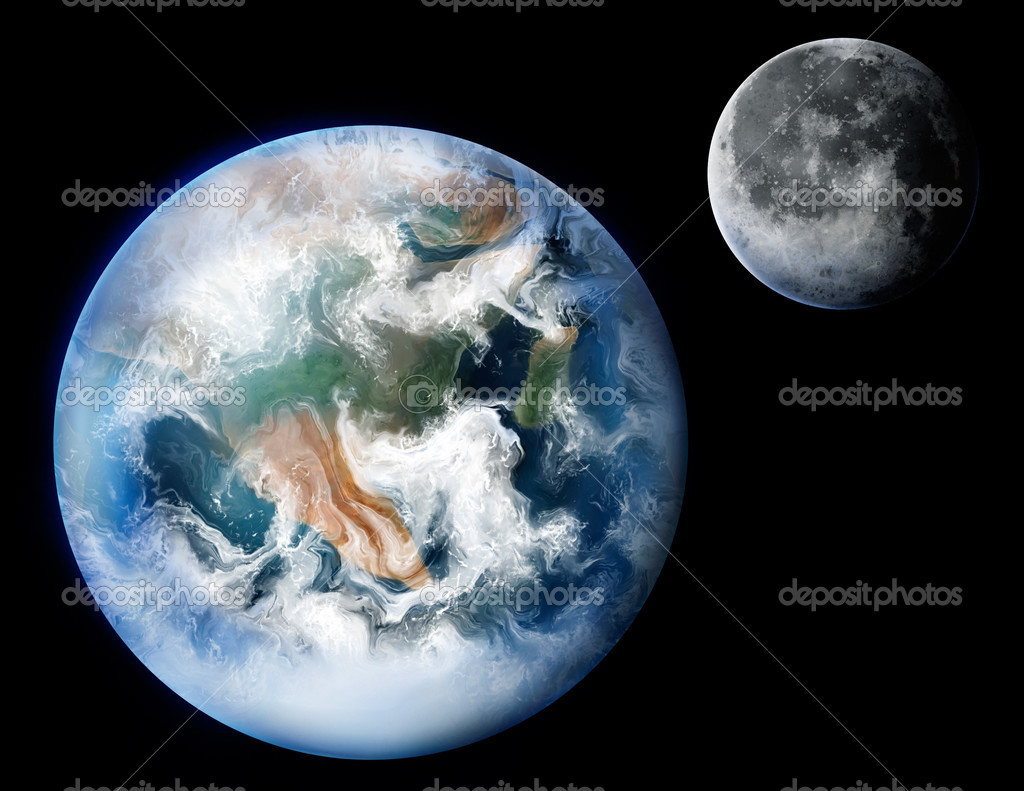 A detailed digital painting of the planet Earth and its moon. — Stock Photo #2955478