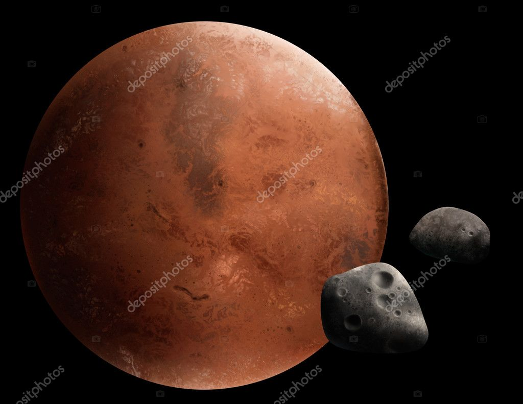 A digital painting of the red planet Mars and 2 of its moons, Phobos and Deimos. — Stock Photo #2955485