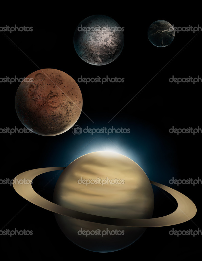 A digital painting of the ringed planet Saturn and 3 of it's many moons, Rhea, Iapetus, and Dione. — Stock Photo #2955486