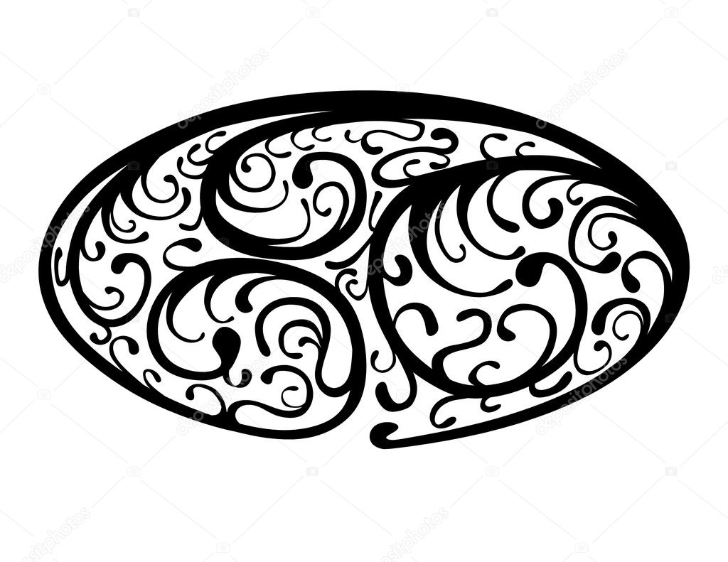 Black and white illustration of an oval border motif with organic vine shapes — Stock Photo #2955590