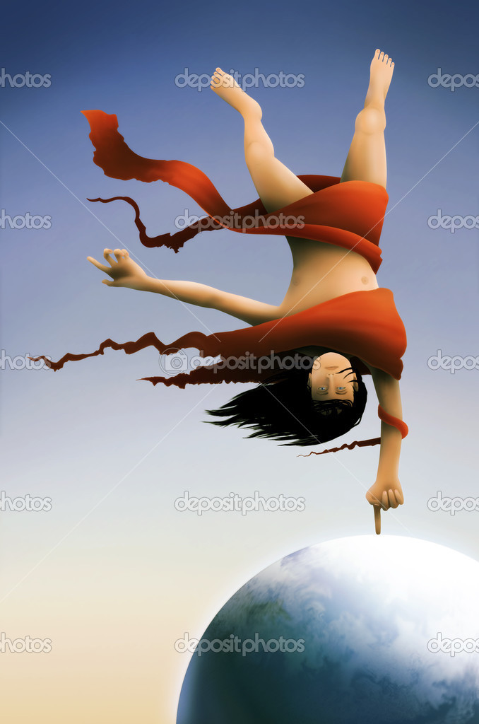 A surreal painting of a long haired man wrapped in red fabric balancing on the Earth tethered by his index finger — Stock Photo #2955596