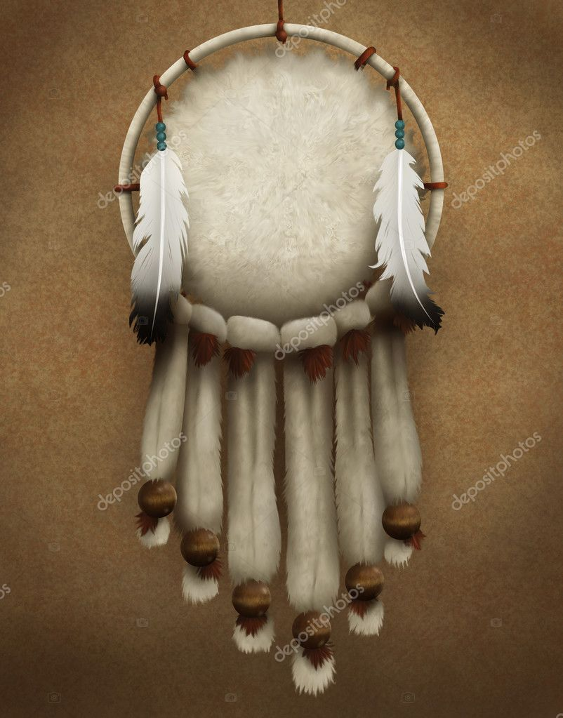 Painting of a traditional Native American dreamcatcher decorated with fur and feathers — Stock Photo #2955605