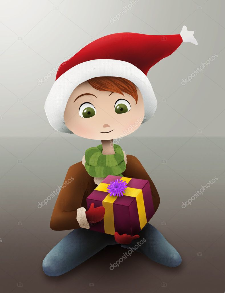 A cartoon illustration of a child dressed in Winter clothing holding a wrapped Christmas present — Stock Photo #2955612