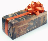 Ornament Gift Box With Orange XXL — 图库照片