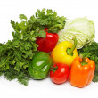 Stock Photo: Different fresh tasty vegetables isolated on white. XXL.