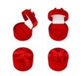 Red Gift Velvet Boxes For Jewelry. — Stock Photo