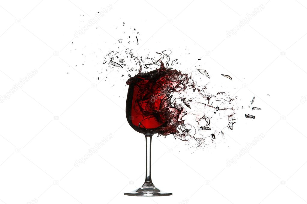 Explosion of a glass with red wine isolated on a white background.High Quality XXL! — Stock Photo #3513371