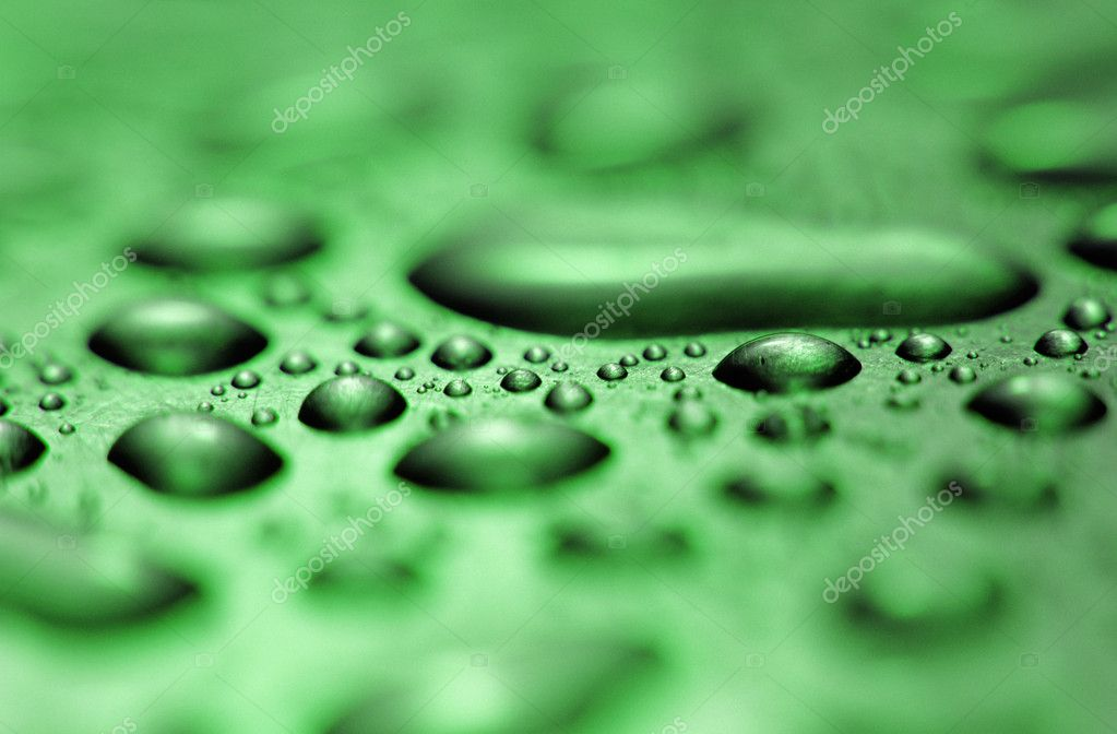 Water droplets formed from condensation inside metal object green tone  Stock Photo #3562467