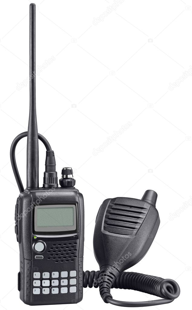 Black walkie talkie isolated on white background with clipping path. High Quality. Police portable radio set. — Stock Photo #3676416
