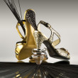 Gold and silver shoes - Stock Photo