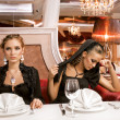 Dining Beauties — Stock Photo
