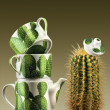 Tea set and cactus - Lizenzfreies Foto