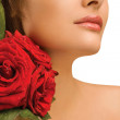 Female shoulder and roses — Stock Photo